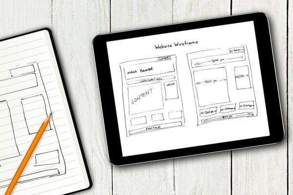 website wireframe on a tablet